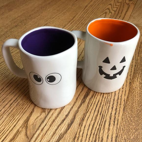 Halloween Ceramic Mugs Set of 2 BOO Trick or Treat